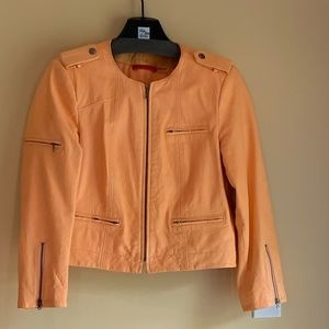 alice + olivia Leather Jacket, Peach, Size Med